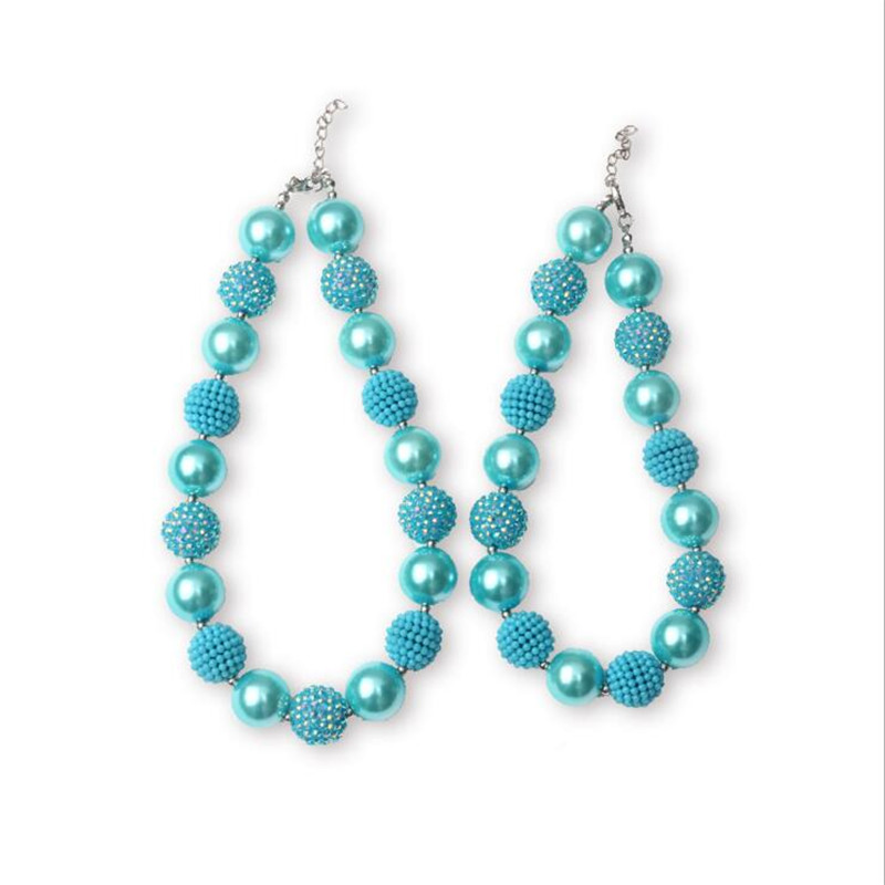 2 Sets Aqua Blue Color Chunky Bubblegum Necklace Jewelry Handmade Gumball Beaded Mother Daughter Necklace Set Girls Gift(China)