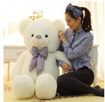 lovely beige teddy bear doll candy colours teddy bear with spots bow plush toy doll birthday gift about 100cm new creative plush bear toy cute lying bow teddy bear doll gift about 50cm