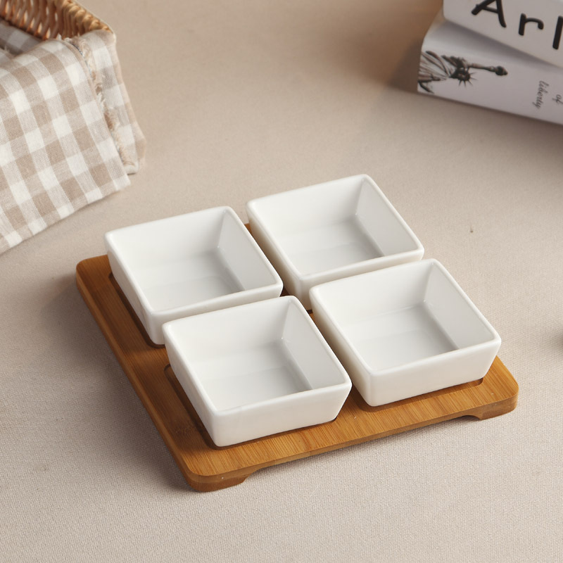 Ceramic Detachable Serving Dish Set with Bamboo Tray Decorative Porcelain Caddy Dinner Plate Dinnerware and Houseware Ornament-in Dishes u0026 Plates from Home ... & Ceramic Detachable Serving Dish Set with Bamboo Tray Decorative ...