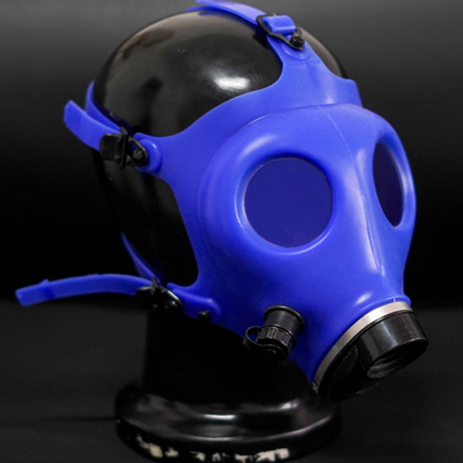 (FE01-B)Quality latex rubber half head conquer blue gas mask fetish hood accessory breathing control equipment latex fetish wear