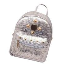 2017 new college wind schoolbag washed leather backpack Women Gold Velvet Small Rucksack Backpack School Book Shoulder Bag