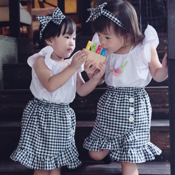 Toddler Girls White Color Fly Sleeve Tops Plaid Asymmetrical Skirts 2pcs Sets Summer New Holiday Lovely Outfits Clothing