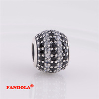 Fits Pandora Bracelet Black Crystal Pave Ball Charm Beads Authentic 925 Sterling Silver Charms For Women