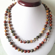 hot free Shipping new 2014 Fashion Style diy Natural 8MM PICASSO ROUND BEAD Jasper NECKLACE 35