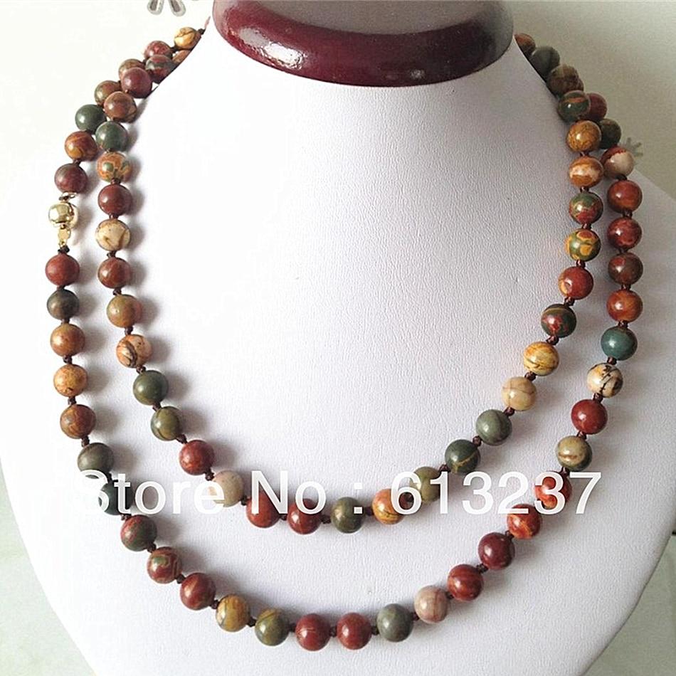 0eafa1e49bd4 Cheap Piedra Natural 8mm multicolor picasso cuentas redondas collar diy  cadena larga mujeres elegante graduación regalos