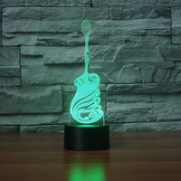 Creative Guitar Shape 3D Visual NightLight 7 Colos Changing USB LED Table Lamp Lampara Musical Instruments