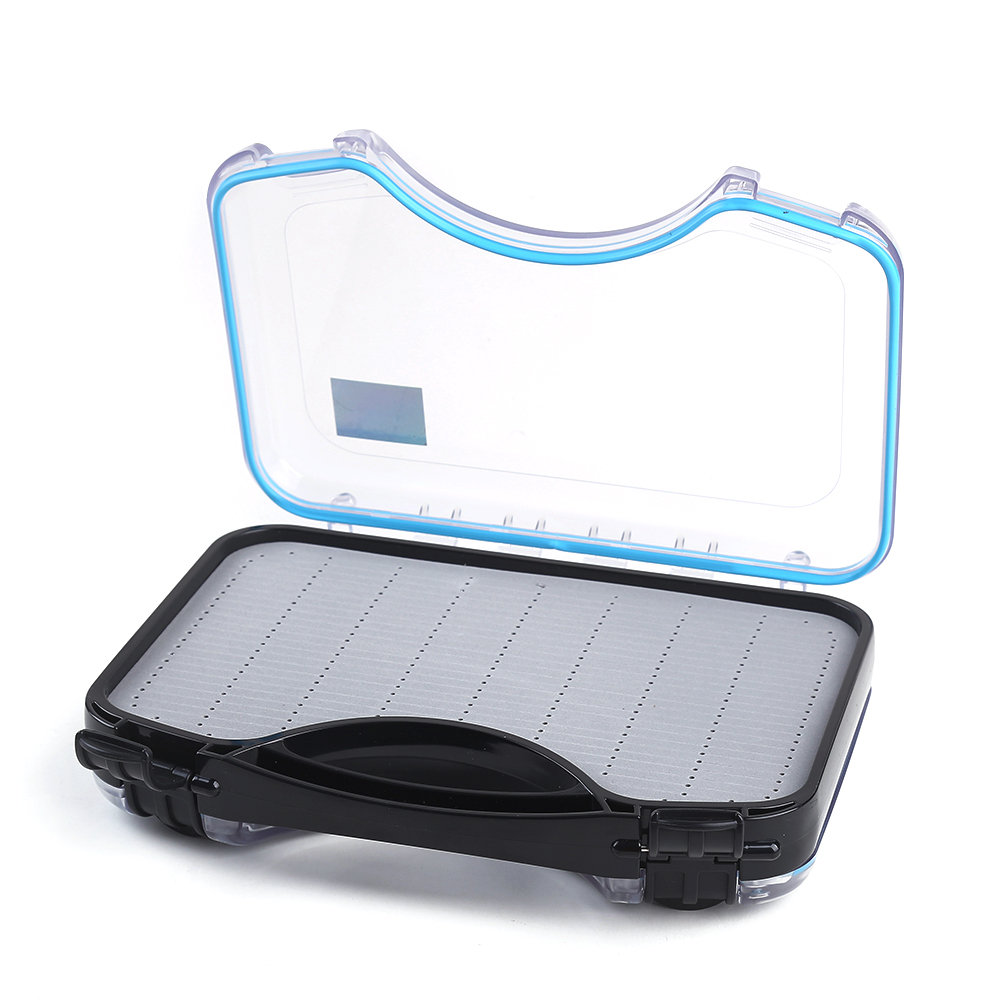 FISH KING Fly Fishing Box Slit Foam inside Plastic Waterproof Double Side cover Fly Fishing Tackle Box