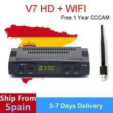 Freesat V7 HD DVB-S2 Receiver Satelliten Decoder + USB WIFI mit 1 Jahr Europa 5 CCCAM HD 1080p BISS Key Powervu Satellitenempfänger