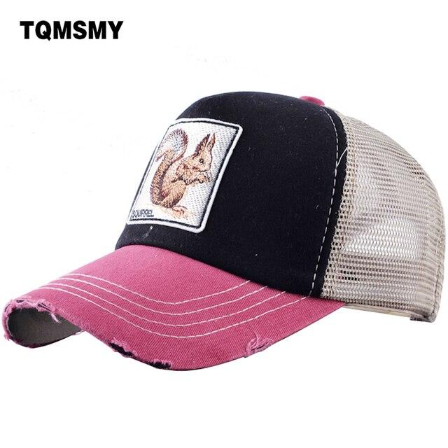 TQMSMY Cute animal squirrel Trucker hat for men Summer Baseball Caps Women  Snapback Bone Visor Breathable efa3b24a262