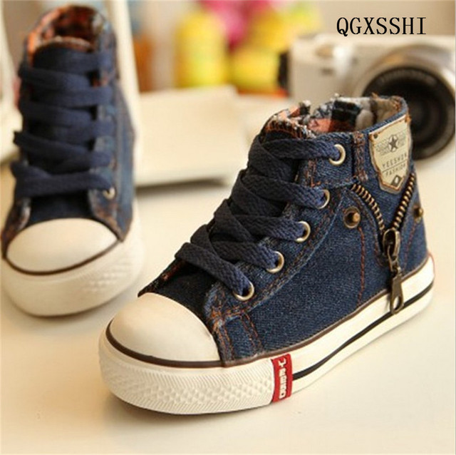 f12a311ca7 US $8.79 11% OFF|QGXSSHI Size 25 37 Children Shoes Kids Canvas Sneakers  Boys Jeans Flats Girls Boots Denim Side Zipper Shoes-in Sneakers from  Mother & ...