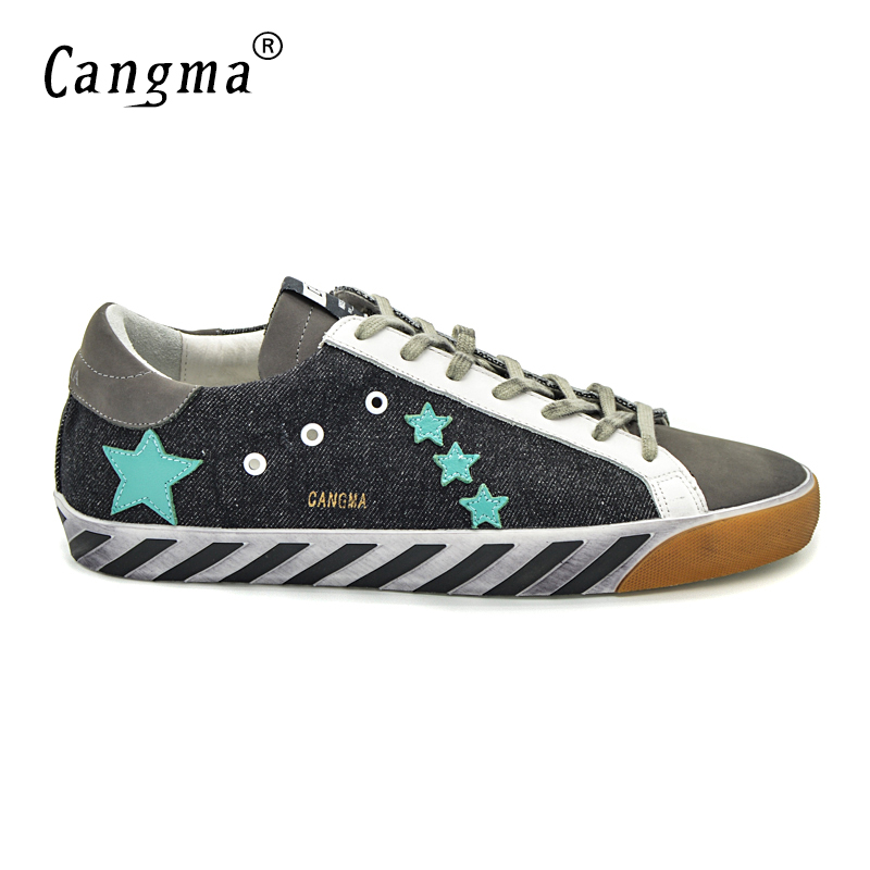 CANGMA Original Italy Deluxe Brand Men Shoes Genuine Leather Canvas Superstar Man Casual Black Breathable Shoes Sapatilha 2017 cangma original italy deluxe brand men golden shoes women handmade silver genuine leather goose shoes scarpa stella sapato 2017