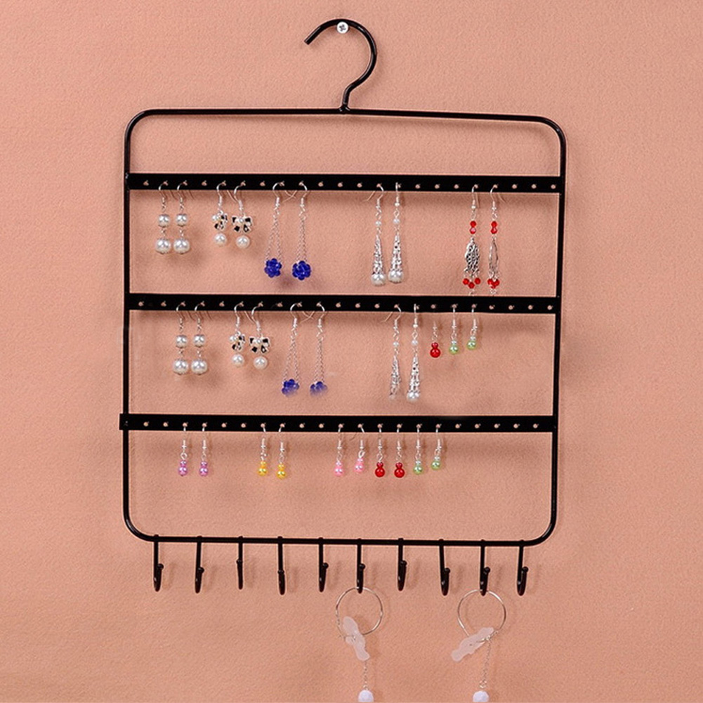 66 Holes and 10 Hooks Wall Earring Organizer Jewelry ...