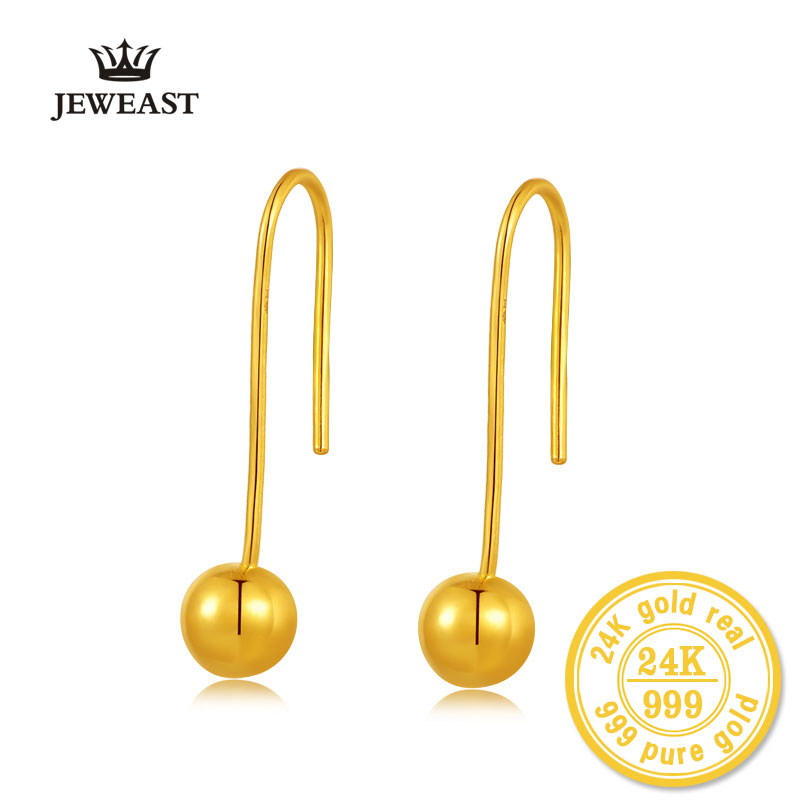 24k Pure Gold Earrings Real 999 Solid Bead Women Yellow Exquisite Fine Fashion Smooth Simple New For Female Ball Party Trendy 24k gold ring pure real pattern exquisite fine jewelry mini resizable design fashion female new hot sale 999 trendy party women