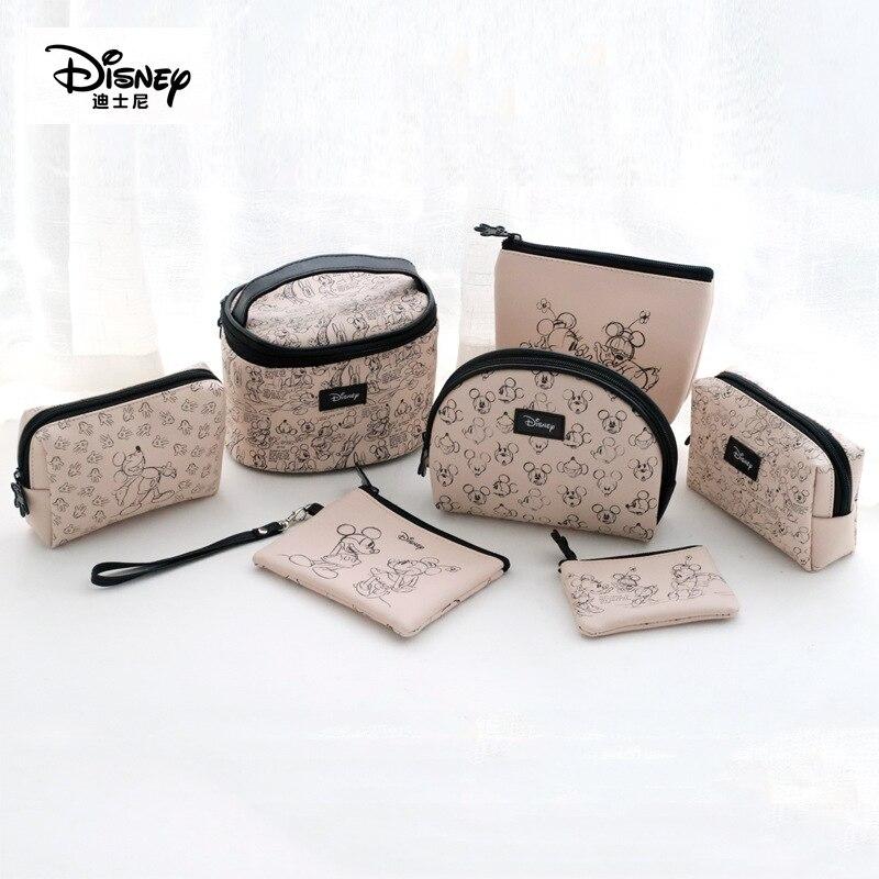 Hot Disney Minnie Mickey Bag Diaper Mummy Bag Women Cosmetic Set Wallet Purse Baby Care Travel Bags 6 Pcs Girls Gift