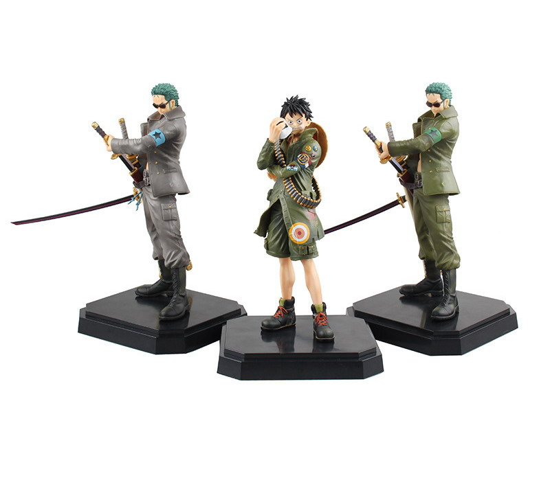 ФОТО Anime ONE PIECE MONKEY D LUFFY RORONOA ZORO military style PVC Figure Collection Toy 23cm