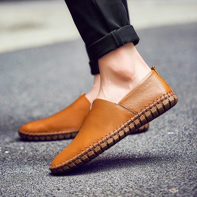 23d896572fe1b5 Men Casual Driving Shoes 2019 Men Leather Loafers Shoes Fashion Handmade  Soft Breathable Moccasins Flats Slipe