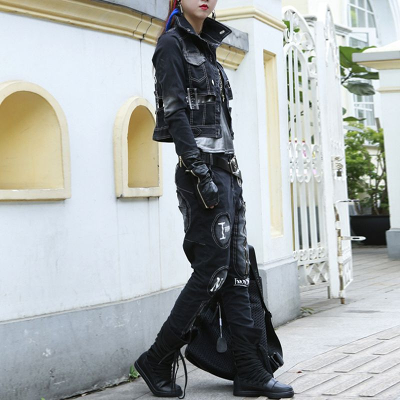 Femmes Moto Ensembles Collar Unique Vestes Turn De Punk Hiver Black Style Down Arrivée Poitrine Mode Nouvelle Jeans Denim Casual 1nqxxaRI