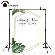 Allenjoy fundo fotografico tło lato las złota ramka prosta tradycyjna weselna photocall photozone tło dla zdjęć