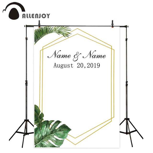 صورة خلفية من Allenjoy fundo fotografico خلفية صيفية للغابات بإطار ذهبي بسيط مخصص لحفلات الزفاف صور خلفية للصور