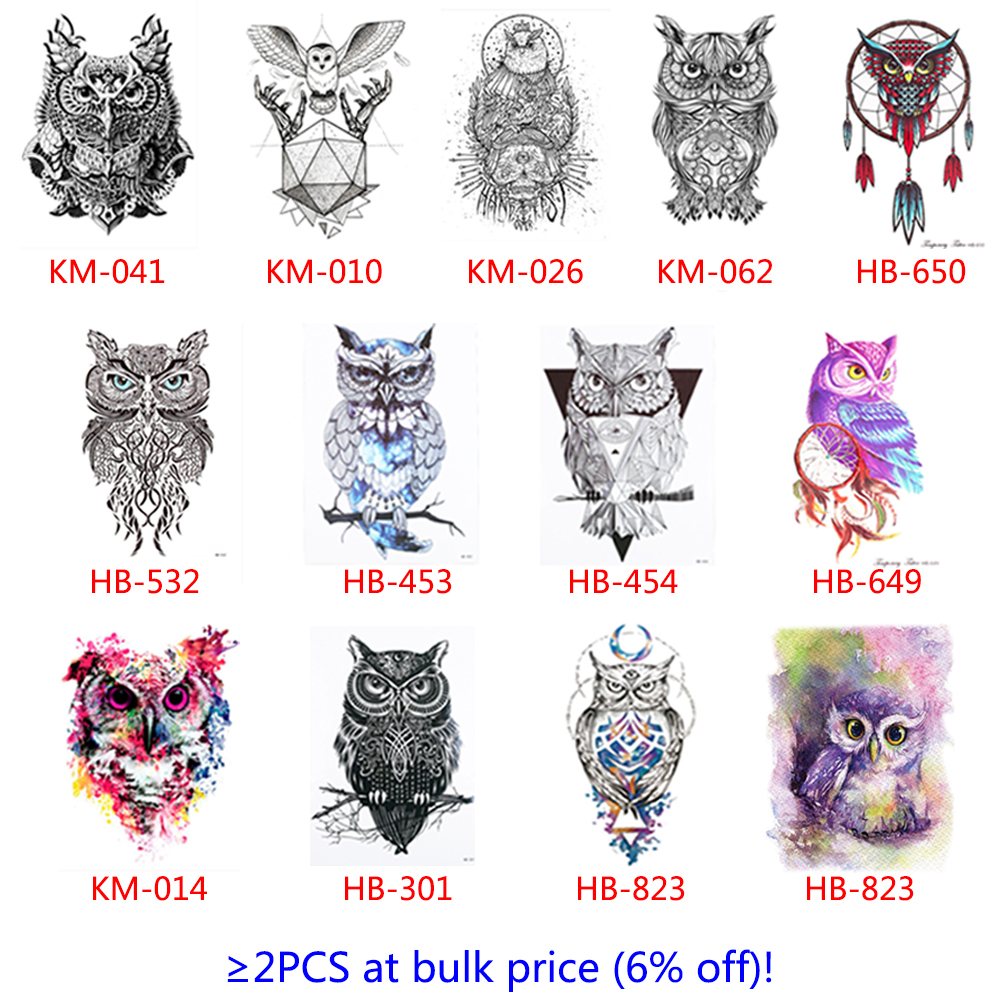 2 lovely Sheet Colorful Body Art Catoon Drawing Temporary Tattoo Women Men Owl Decal Design Waterproof Tattoo