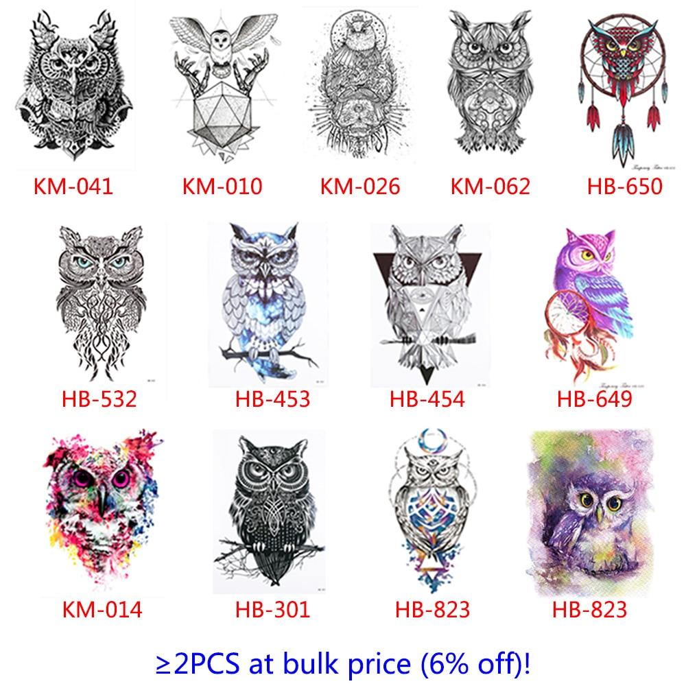 2 прекрасный Простыни красочные Средства ухода за кожей Книги по искусству Catoon Рисование Временные татуировки Для женщин Для Мужчин Сова наклейка Дизайн Водонепроницаемый татуировки