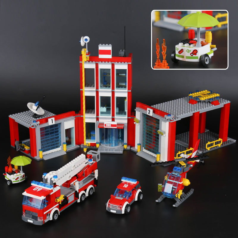 Lepin 02052 1029Pcs The City Fire Station Set  Fireman Building Blocks Bricks Educational DIY Toys Compatible With Model 60110 the mortal instruments 6 city of heavenly fire