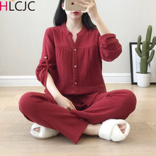 Cotton Crepe V neck Pajamas Suit Women Autumn Thin Gauze Small Stand Collar Long sleeved Trousers Korean Leisure Home Service