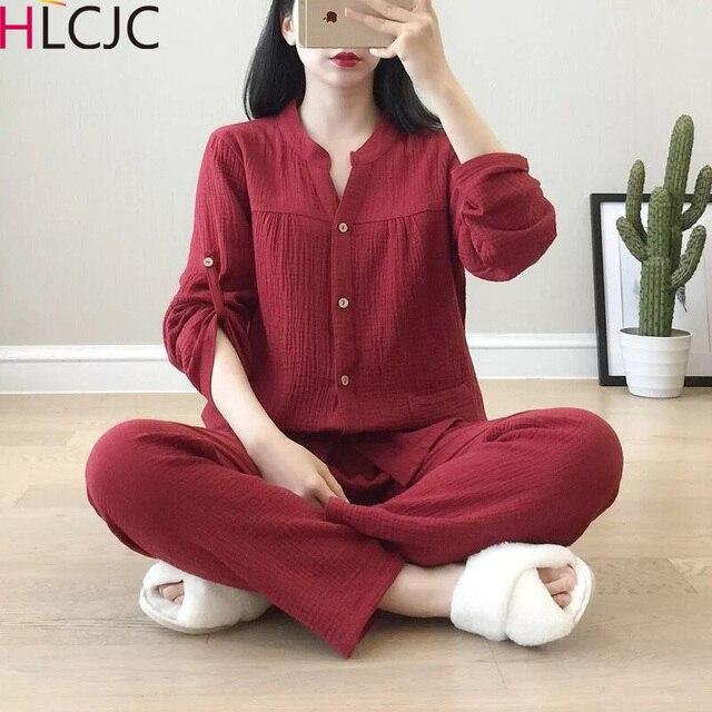 Krepa bawełniana z dekoltem w kształcie litery v piżamy garnitur kobiety jesień cienkie gaza małe stoisko kołnierz z długim rękawem spodnie koreański rozrywka usługi w domu