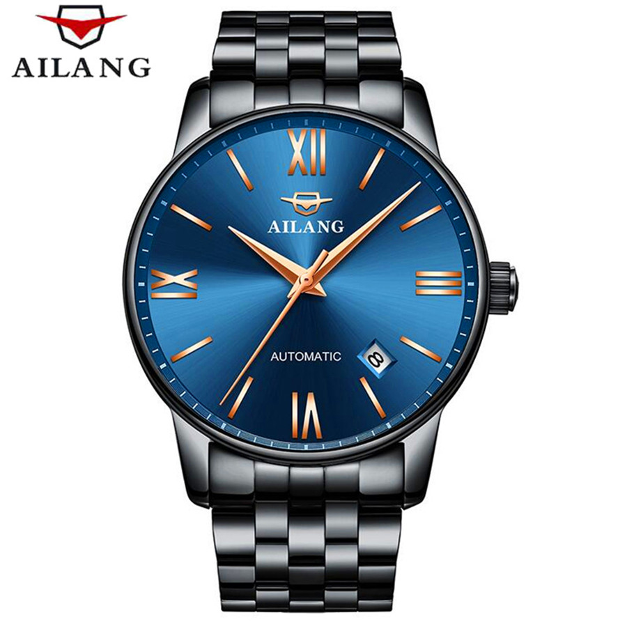 AILANG Mens Automatic mechanical Watch Men Watches Top Brand Luxury Waterproof 30M Business full steel watch Relogio Masculino ailang watches men famous brand luxury automatic mechanical mens watch waterproof full steel date business male wrist watch new