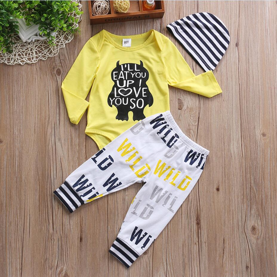 3PCS Baby Boy Clothing Set Newborn Baby girls clothes I'll EAT YOU UP I LOVE YOU SO Rompers Pants Hat Toddle Outfits 2pcs set baby clothes set boy