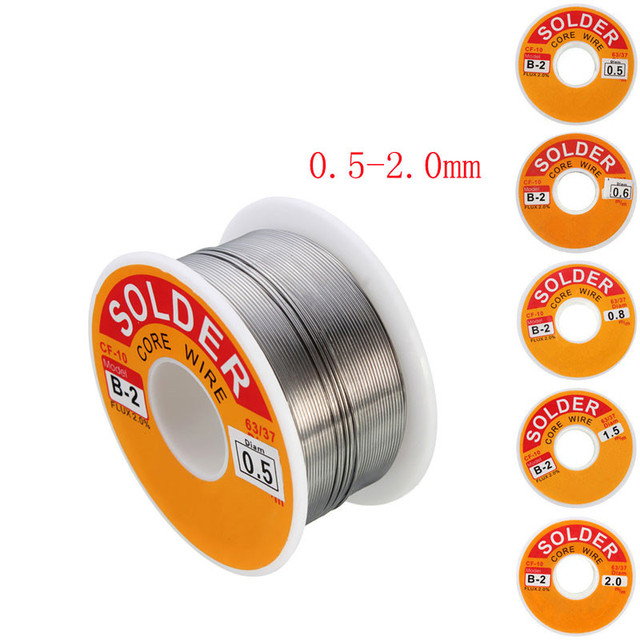 63/37 Rosin Core Solder Wire Flux 2% Tin Lead Solder Iron Welding Wires Reel 0.5mm-2.0mm 100g Flux Reel Welding Line