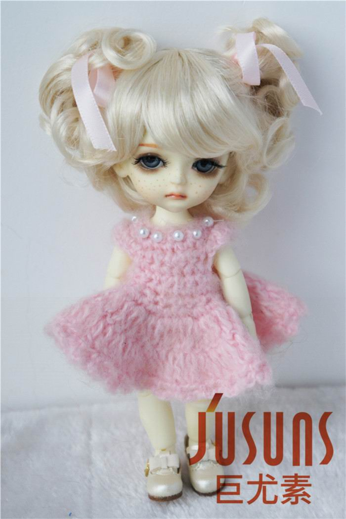 JD011 1/8 Lati yellow BJD doll wig Charming Curl Doll Wigs size 5-6 inch Doll Accessories Synthetic Mohair doll Wigs jd145 msd synthetic mohair doll wigs 7 8inch long curly bjd hair 1 4 doll accessories