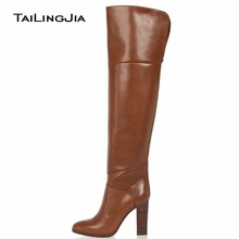 купить Women's Brown Over knee High Boots High Heel Round Toe Fashion Zipper Block Heel Winter Keep Warm Ladies Boots Free Shipping по цене 5642.18 рублей