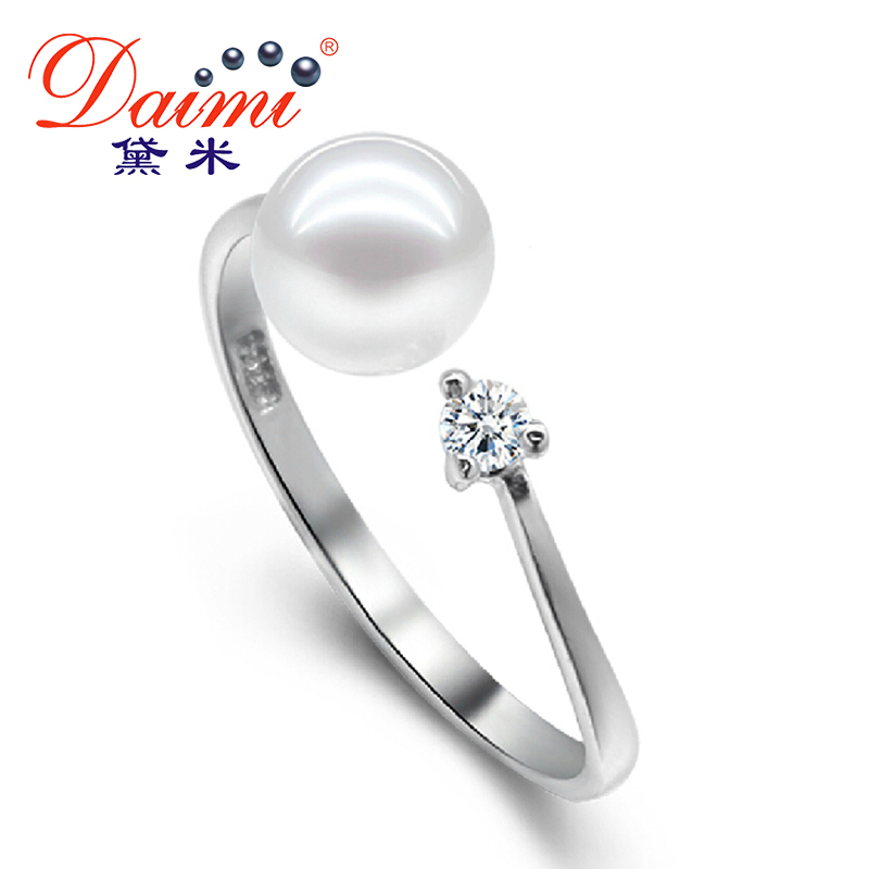 DAIMI 925 Sterling Silver Ring 100% Natural Round Pearl Rings For ...