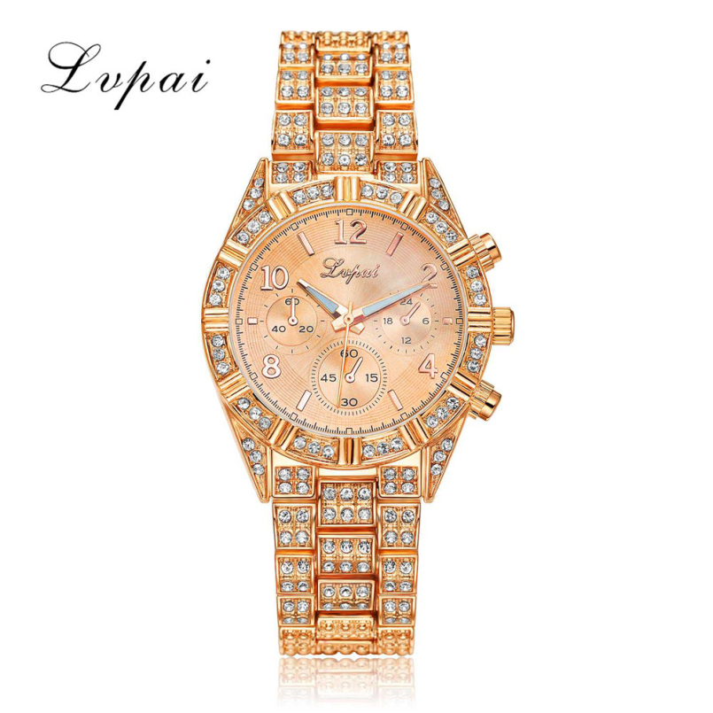 Excellent Quality Lvpai Rhinestone Watches Women Stainless Steel Bracelet watches Ladies Quartz Dress Watches Reloj Mujer Mar 10