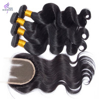 Sale! Cambodian Virgin Hair Body Wave 3bundles with Closure Color 1B, Cambodian Body wave Human Hair Extensions With closure