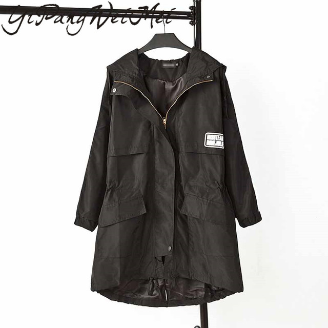 Topjini Spring Plus Size High Quality Trench Coat Women 2017 New Fashion Outerwear Mid Long Elegant Zipper Female Overcoat