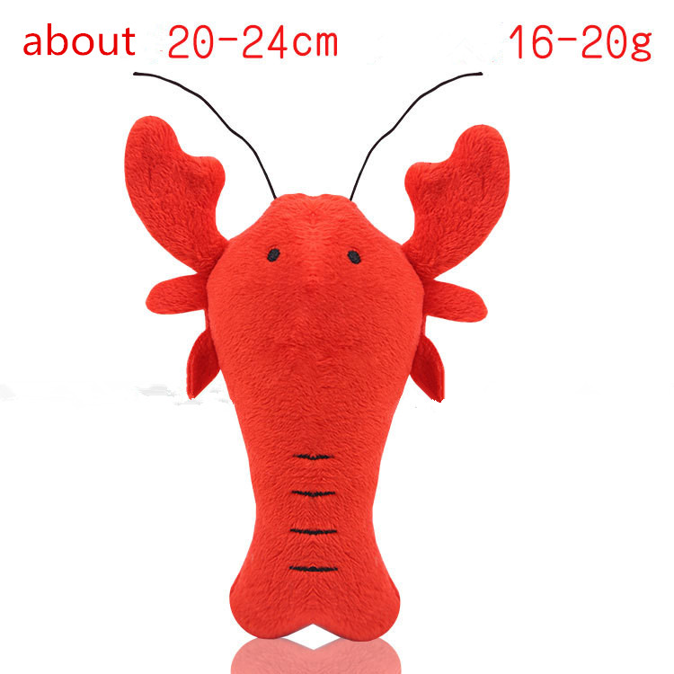 Fleece Squeak Toy for Small Dogs Cute Crayfish Crab Type Pet Dogs Sounding Toys Cat Fish Puppy Bone Squeaky Rope Toys 4