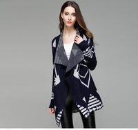 New Fashion 2018 Autumn Elegant Oversized long Sweater Cardigan Knitted Vintage Cardigan Cape Poncho Geometric Women Jumper Coat