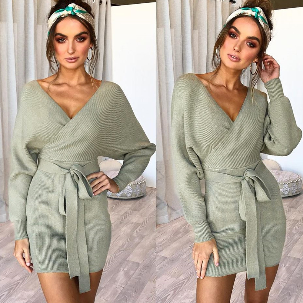 New winter knit sweater women 39 s dress sexy women 39 s overalls bag hip warm sweater women 39 s dress in Dresses from Women 39 s Clothing