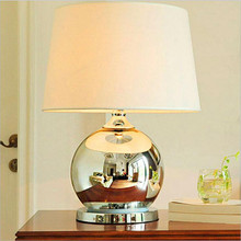 Creative Modern Fashion Plated Silver Glass Handmade Fabric Led E27 Table  Lamp For Bedroom Bedside Living