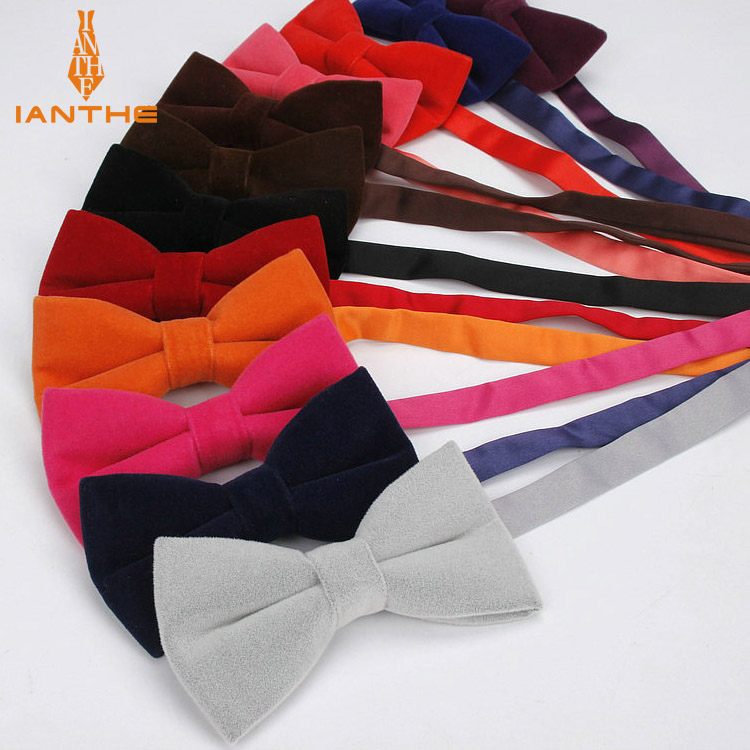 Ianthe Brand New Men's Solid Color Velvet Bow Tie Candy-colored Suit Bowtie For Man Male Neckwear Fashion Butterfly Gravatas