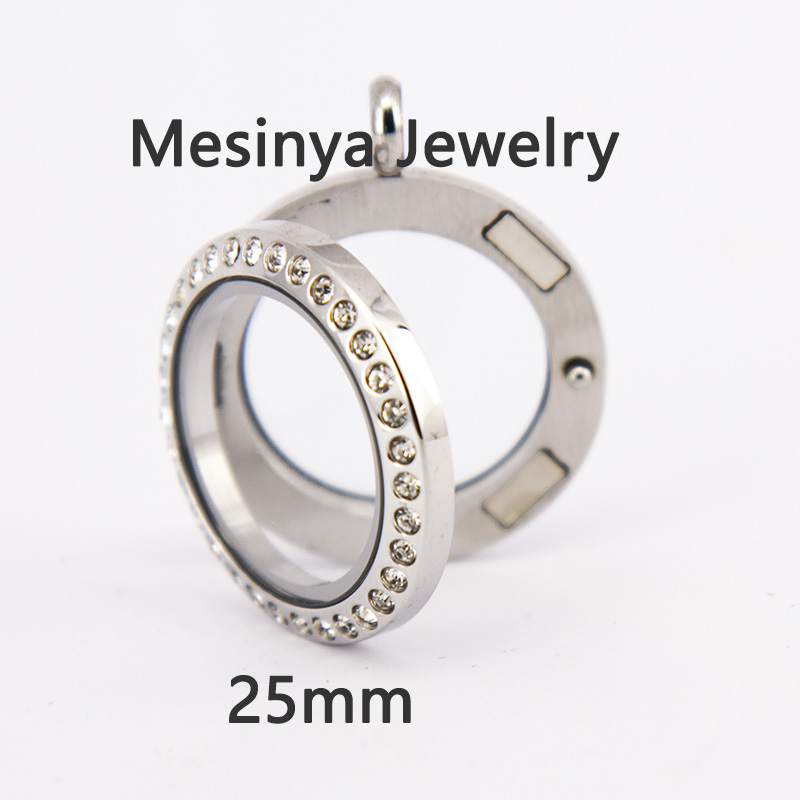 10pcs Stainless steel 25mm magnetic medium circle living glass locket for floating charms love note keepsake