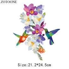 ZOTOONE DIY нашивка в виде птицы, наклейки для одежды цветок железо на патчи аппликация вышивка теплопередача термоколлагенты футболка