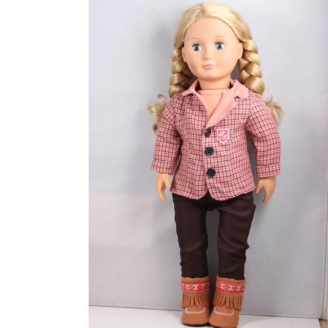 """Pink Fahion Career Suits Coat + Black Pants +Brown Tassel Boots   American Girl Doll Clothes Fit 18 """" American Girl Doll  AG630"""