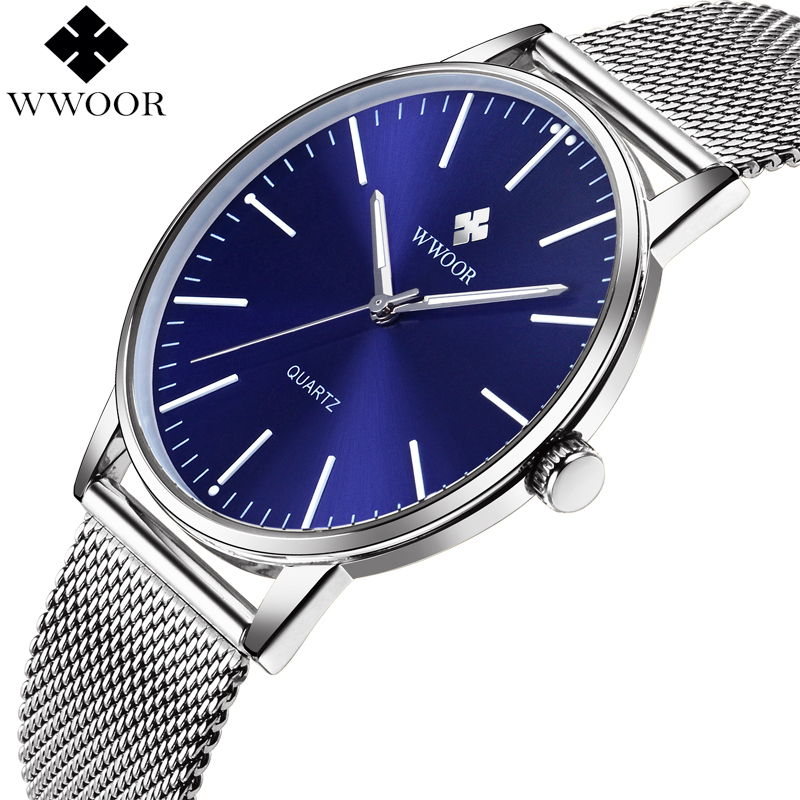 New WWOOR Top Brand Luxury Men's Ultra Thin Quartz Watch Men Waterproof Stainless Steel Sport Wrist Watch Male Blue Analog Clock splendid brand new boys girls students time clock electronic digital lcd wrist sport watch
