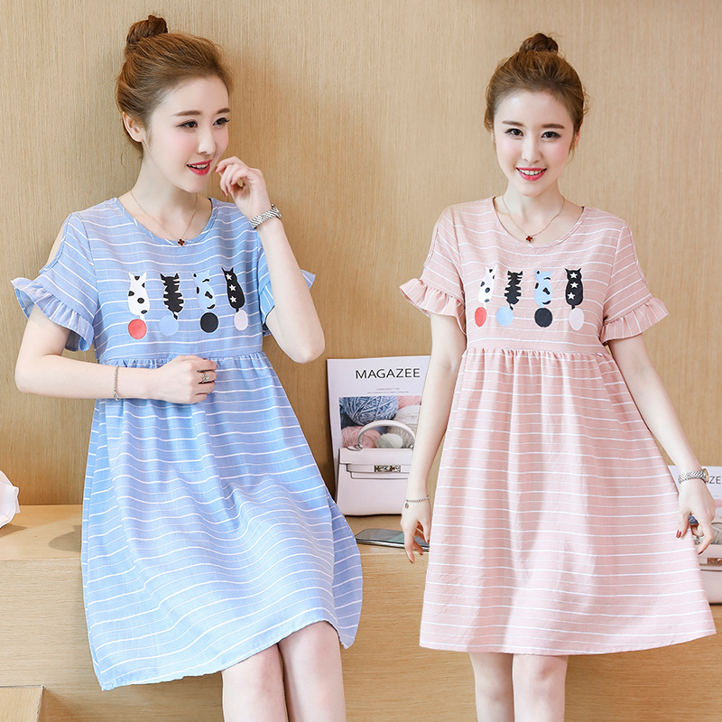 BONJEAN New Cartoon Printed Striped Maternity Nursing Dress Summer Breastfeeding Clothes for Pregnant Women Pregnancy Clothing