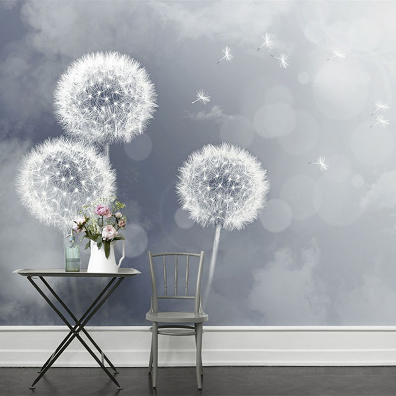 Customized Size Simple Romantic Theme Room Decor 3D Painted Dandelion Large Murals Wallpaper For Bedroom Living Room Wall Paper