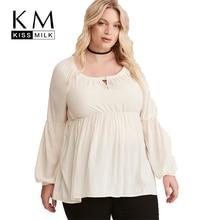 Kissmilk Women Plus Size Hollow Out Button Shirt Long Sleeve Solid Loose Basic Tops Lantern Sleeve Large Size Casual Shirt все цены
