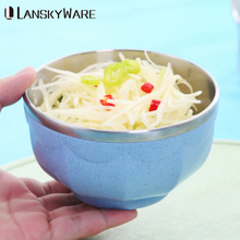 LANSKYWARE Portable Dinnerware Set Chinese 304 Stainless Steel Travel Tableware With Bag Cutlery For Kids Picnic Dinner